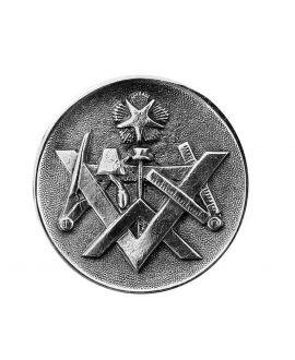 Canne Milord argenté Equerre, compas, niveau, truelle et étoile