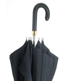 Epée - parapluie noir, avec poignée cuir noir