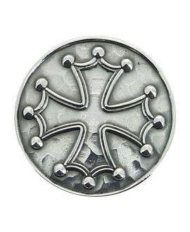 Epée - pommeau milord en métal argenté avec pastille incrustée (Croix Cathare ou croix Templière)