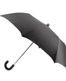 parapluie pliant Homme, gris chiné rayures bordeaux
