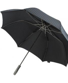 parapluie pliant Homme, gris fines rayures parme