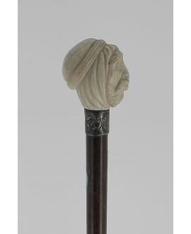 Canne tête de touareg en ivoire