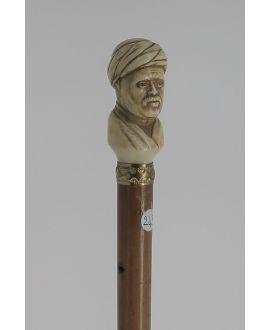Canne Belle tête de Cheik arabe signée G.Dumont ivoire