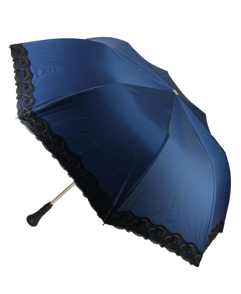 folding umbrella for lady bleu with black lace ebony knob galerie fayet. Black Bedroom Furniture Sets. Home Design Ideas