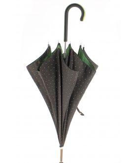 Parapluie motifs à pois, poignée cuir noir avec zip