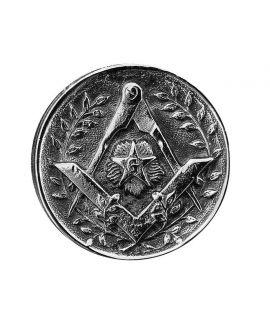 Canne Milord argenté Equerre, compas et étoile flamboyante