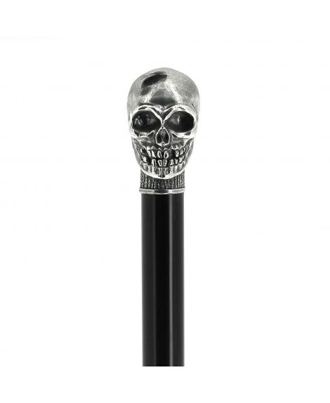 Bronze skull handle silver plated