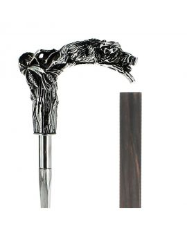 Sword - solid pewter dog and wild boar silver plated handle on carbon shaft macassar veneer