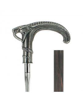 Sword - solid pewter snakehandle silver plated on carbon shaft macassar veneer