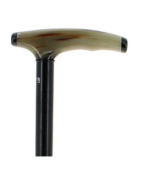 Blond horn handle on ebony wood shaft