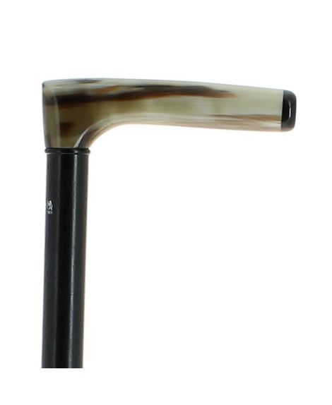 Blond horn handle on ebony wood shaft