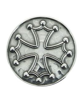 Sword- Sword- silver plated knob inlaid with Cathar cross or cross of the knight templars on carbon shaft macassar veneer
