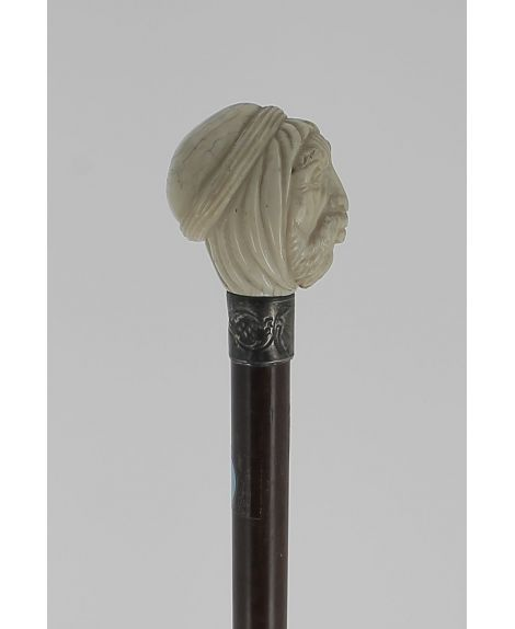 Arab man head in ivory with snakewood shaft