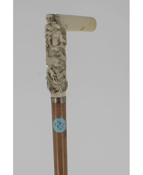 Square ivory handle with romantic scenery