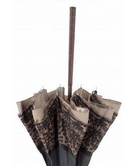 Sun umbrella with panther lace. snakewood shaft. Handle covered with crocodile leather