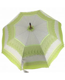 Natural linen Sun umbrella, waterproofed, green lace, internal lining satin. Unscrewable knob