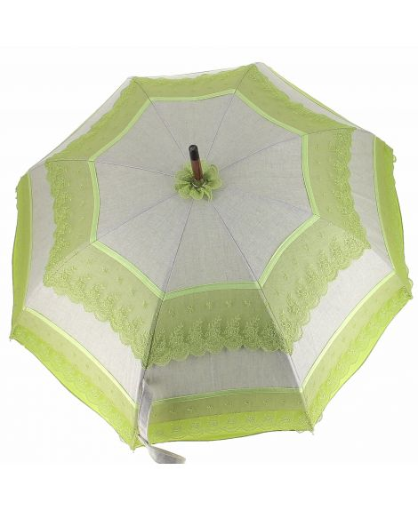Natural linen Sun umbrella, waterproofed, green lace, internal lining satin. Unscrewable knob