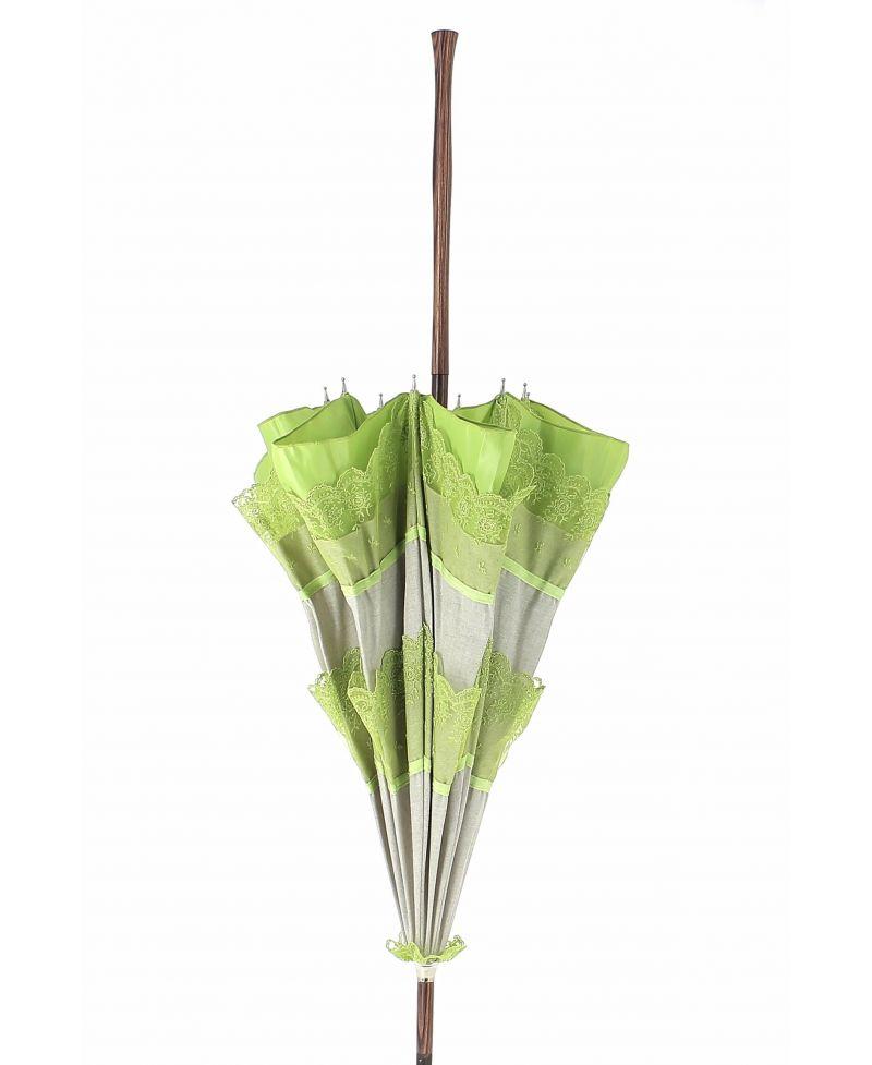 ombrelle en lin naturel dentelle verte bois de. Black Bedroom Furniture Sets. Home Design Ideas