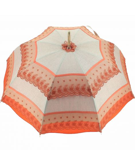 Natural linen Sun umbrella, waterproofed, orange lace, internal lining satin. Unscrewable knob