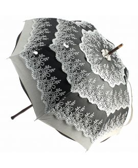 Natural linen Sun umbrella, waterproofed, grey lace, internal lining satin. Unscrewable knob