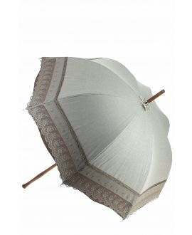 Natural linen Sun umbrella, waterproofed, beige lace, internal lining satin. Unscrewable knob