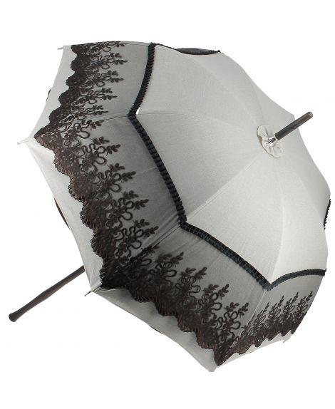 Natural linen Sun umbrella, waterproofed, brown lace, internal lining satin. Unscrewable knob