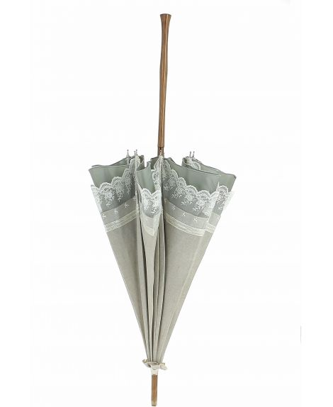Natural linen Sun umbrella, waterproofed, white lace, internal lining satin. Unscrewable knob