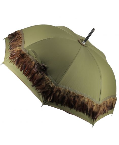Sun umbrella with green feather. Ebony wood shaft. Handle covered with Ostrich