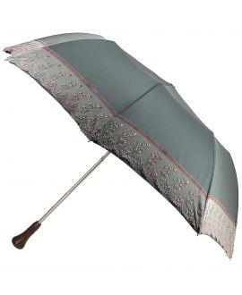 Parapluie pliant Dame, kaki avec dentelles motifs floraux tons rose, poignée pink ivory