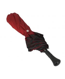 Red Folding umbrella for Lady,  ebony knob
