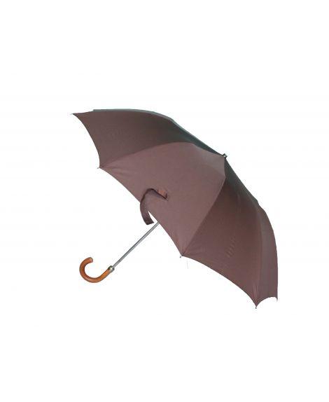 Folding umbrella for man, Brown cloth, crook malacca handle