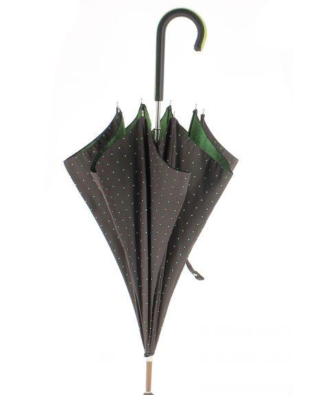 Parapluie motifs à pois, poignée cuir rose avec zip