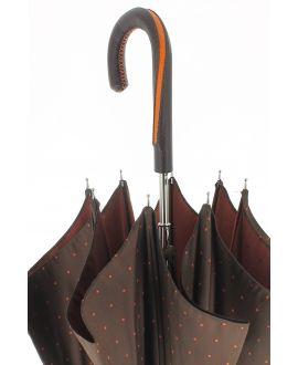 Parapluie motifs à pois, poignée cuir bicolore vert et marron