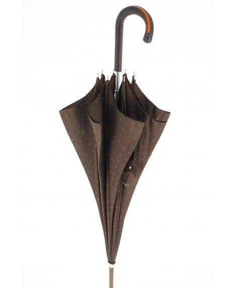 Parapluie motifs à pois, poignée cuir vert avec zip