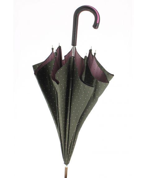 Parapluie motifs à pois, poignée cuir bicolore marron et rose