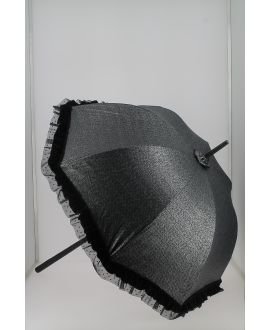 Tweed grey cotton Sun umbrella. Ebony wood shaft. Handle covered with black Shagreen
