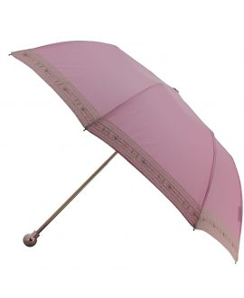 Pink Folding umbrella for Lady, silver plated knob