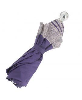 Parapluie pliant Dame, violet, poignée argentée