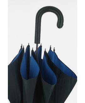 Black Umbrella for Man,blue inside cloth, crook covered handle with black leather,  metal shaft