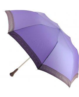 Parapluie pliant Dame, parme, dentelle rose pale, poignée palissandre